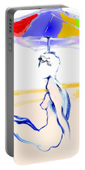 Portable Battery Charger featuring the painting Sophi's Umbrella #2 - Female Nude by Carolyn Weltman