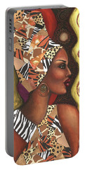 Portable Battery Charger featuring the mixed media Sophisticated Safari by Alga Washington
