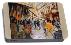 Portable Battery Charger featuring the painting Souk De Buci by Walter Casaravilla