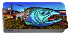 Soul Salmon During Blue Hour Portable Battery Charger by Rob Green