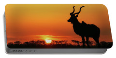 South Africa Sunset Kudu Silhouette Portable Battery Charger