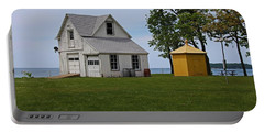 South Bass Island Lighthouse Barn And Oil Storage Building I Portable Battery Charger by Michiale Schneider