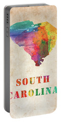 South Carolina Colorful Watercolor Map Portable Battery Charger