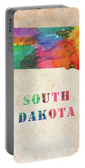 South Dakota Colorful Watercolor Map Portable Battery Charger