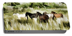 Portable Battery Charger featuring the mixed media South Dakota Herd Of Horses by Wilma Birdwell