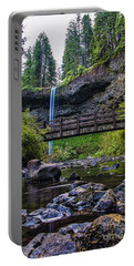 South Silver Falls With Bridge Portable Battery Charger by Darcy Michaelchuk