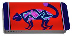 Portable Battery Charger featuring the digital art Southwest Mimbres Feline by Vagabond Folk Art - Virginia Vivier