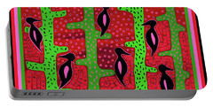 Portable Battery Charger featuring the digital art Southwest Saguaro Birds by Vagabond Folk Art - Virginia Vivier