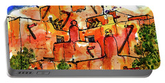 Portable Battery Charger featuring the painting Southwestern Architecture by Terry Banderas