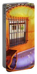 Southwestern Porch Distortion With Puple Floor Portable Battery Charger