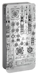 Portable Battery Charger featuring the digital art Soviet Rocket Schematics by Taylan Apukovska