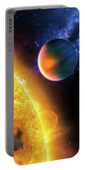 Portable Battery Charger featuring the photograph Space Image Extrasolar Planet Yellow Orange Blue by Matthias Hauser