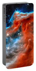 Portable Battery Charger featuring the photograph Space Image Horsehead Nebula Orange Red Blue Black by Matthias Hauser