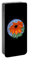 Portable Battery Charger featuring the painting Space Zinnia On Black by Jean Pacheco Ravinski