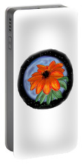 Portable Battery Charger featuring the painting Space Zinnia by Jean Pacheco Ravinski