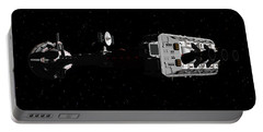 Spaceship Uss Cumberland Traveling Through Deep Space Portable Battery Charger by David Robinson
