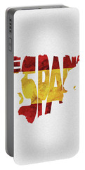 Spain Typographic Map Flag Portable Battery Charger