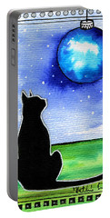 Sparkling Blue Bauble - Christmas Cat Portable Battery Charger