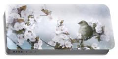 Portable Battery Charger featuring the mixed media Sparrow On Cherry Branch by Shanina Conway