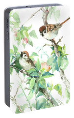Sparrows And Apple Blossom Portable Battery Charger by Suren Nersisyan