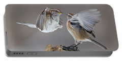 Portable Battery Charger featuring the photograph Sparrows Fight by Mircea Costina Photography