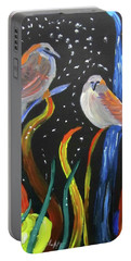 Portable Battery Charger featuring the painting Sparrows Inspired By Chihuly by Linda Feinberg