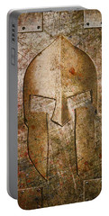 Spartan Helmet On Metal Sheet With Copper Hue Portable Battery Charger
