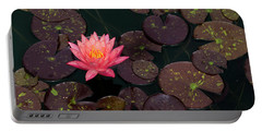 Speckled Red Lily And Pads Portable Battery Charger
