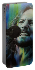Eddie Vedder - ' Spectrum Of Vedder ' Portable Battery Charger by Christian Chapman Art