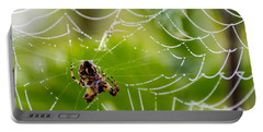 Spider And Spider Web With Dew Drops 05 Portable Battery Charger