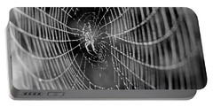Spider In A Dew Covered Web - Black And White Portable Battery Charger