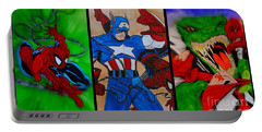 Portable Battery Charger featuring the drawing Spider-man Collage  by Justin Moore