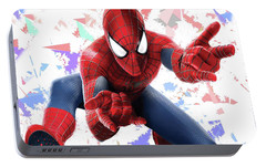 Portable Battery Charger featuring the mixed media Spider Man Splash Super Hero Series by Movie Poster Prints