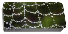 Spider Web Decorated By Morning Fog Portable Battery Charger by William Lee