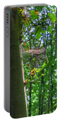Spider Web In A Forest Portable Battery Charger
