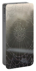 Spider Web With Morning Dew Portable Battery Charger