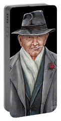 Portable Battery Charger featuring the painting Spiffy Old Man by Judy Kirouac