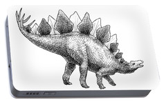 Spike The Stegosaurus - Black And White Dinosaur Drawing Portable Battery Charger by Karen Whitworth