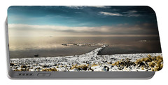 Portable Battery Charger featuring the photograph Spiral Jetty In Winter by Bryan Carter