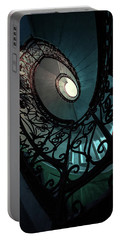 Portable Battery Charger featuring the photograph Spiral Ornamented Staircase In Blue And Green Tones by Jaroslaw Blaminsky