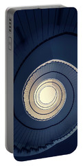 Portable Battery Charger featuring the photograph Spiral Staircase In Blue And Cream Tones by Jaroslaw Blaminsky
