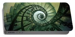 Portable Battery Charger featuring the photograph Spiral Stairs In Green Tones by Jaroslaw Blaminsky