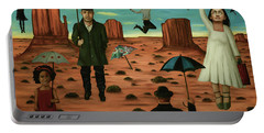 Spirits Of The Flying Umbrellas 3  Portable Battery Charger by Leah Saulnier The Painting Maniac