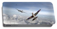 Portable Battery Charger featuring the photograph Spitfire Attacking Heinkel Bomber by Gary Eason