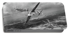 Portable Battery Charger featuring the photograph Spitfire Tr 9 Fighter Affiliation Bw Version by Gary Eason
