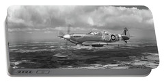 Portable Battery Charger featuring the photograph Spitfire Tr 9 Sm520 Bw Version by Gary Eason