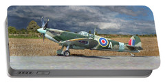 Spitfire Under Storm Clouds Portable Battery Charger