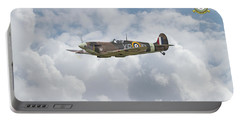 Portable Battery Charger featuring the digital art  Spitfire - Us Eagle Squadron by Pat Speirs