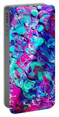 Portable Battery Charger featuring the mixed media Splash Of Color by Monique Faella