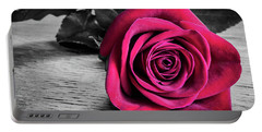 Splash Of Red Rose Portable Battery Charger
